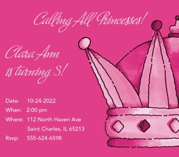 Calling All Princesses! Birthday Invitation Cards
