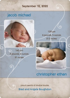 Twins - Swirls Birth Announcement Magnets