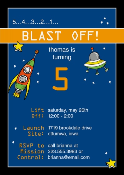 Space Rockets & Saucers Birthday Invitation Cards