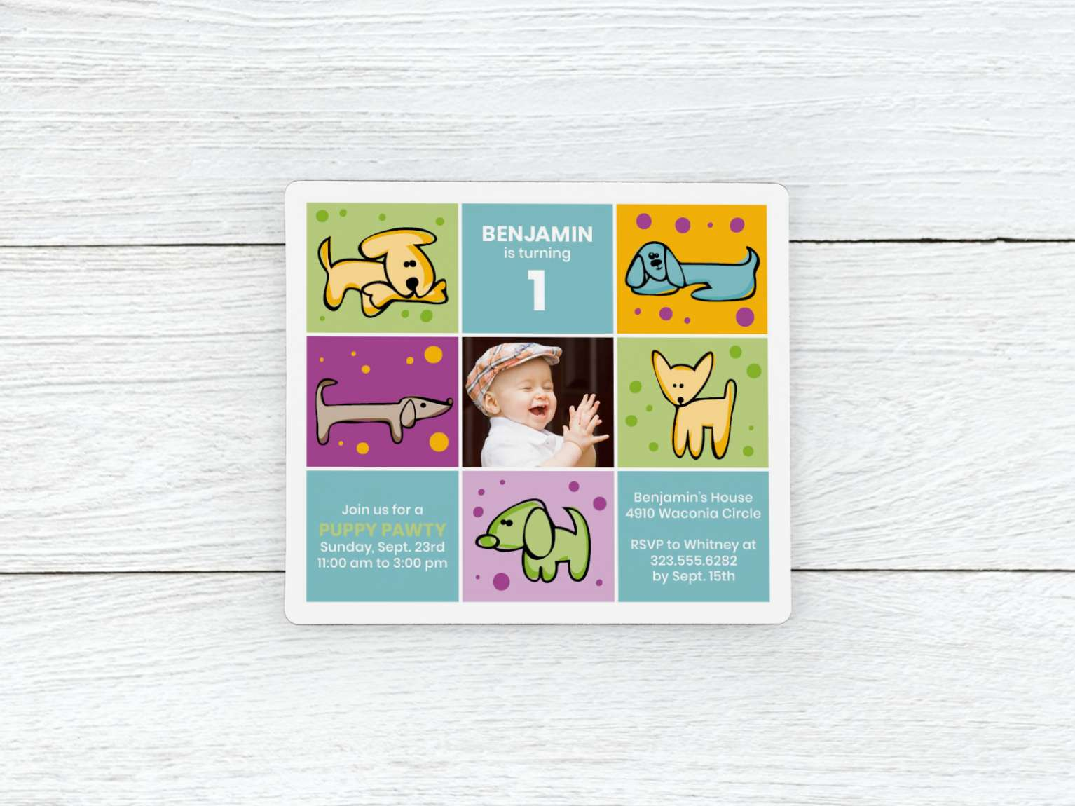 Puppy Pawty Magnets Included Envelopes