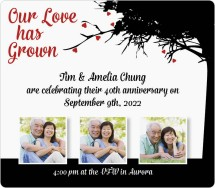 Our Love Has Grown Anniversary Invitation Magnets