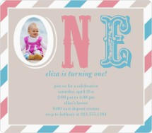 Baby Turning One Birthday Party Invitations