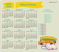 Books, Bus, and Banner School Calendar Magnets