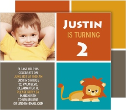Little Jungle Lion Birthday Invitation Cards