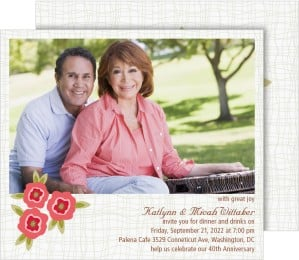Plaid & Poppy Perfection Anniversary Invitation Cards