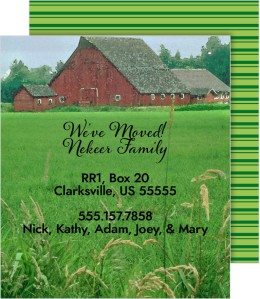 Family Farm Moving Announcement Cards