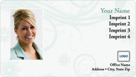 Green Texture Swirls Magnetic Business Cards