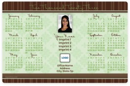 Pale Green Pattern and Brown Stripes Full Magnet Calendars