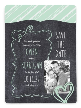 Chalkboard Sweetheart Save the Date Magnets