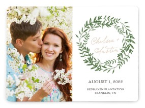 Watercolor Laurel Save the Date Magnets