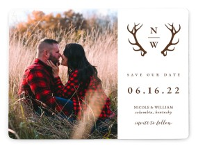 Rustic Antler Save the Date Magnets