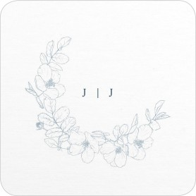 Floral Sketch Wedding Coasters