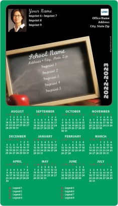 Chalkboard and Apple School Sponsored Calendar Magnets