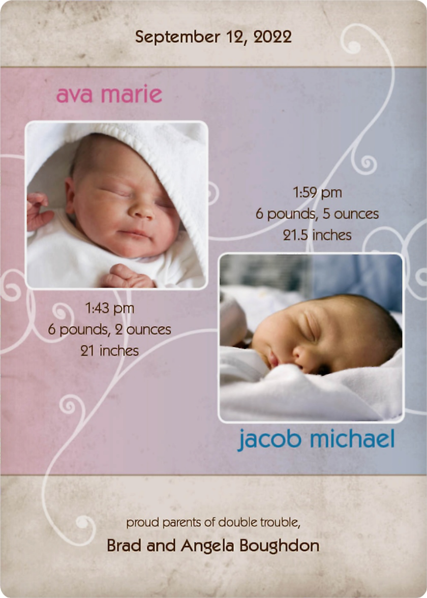 Fraternal Twins - Swirls Birth Announcement Magnets