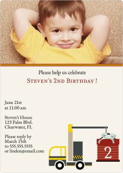 Big Construction Birthday Birthday Party Invitations