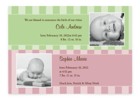 Fraternal Twins - Stripes Birth Announcement Cards