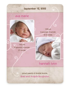 Twins - Swirls Birth Announcement Cards