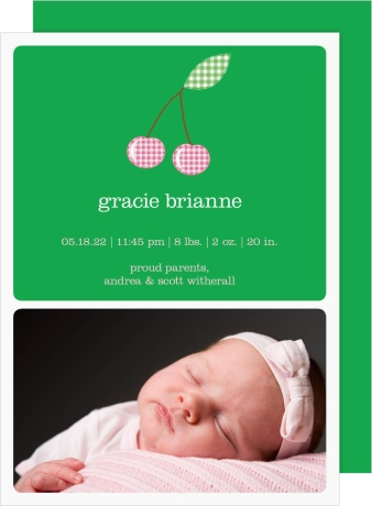 Sweet Cherry Birth Announcement Cards