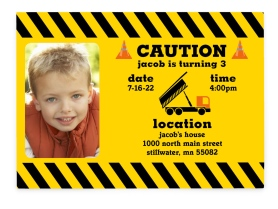Construction Zone Cutie Birthday Party Invitations