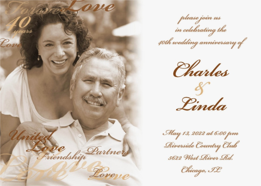 Partners for Life Anniversary Invitation Cards
