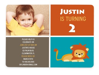 Little Jungle Lion Birthday Party Invitations