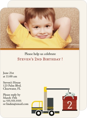 Big Construction Birthday Rounded Cards