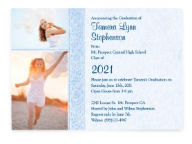 Graceful Glamour Graduation Announcement Cards