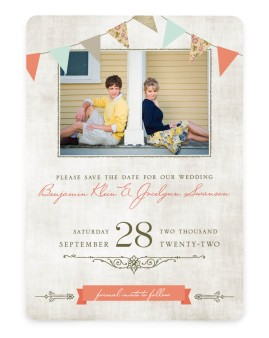 Vintage Bunting Save the Date Cards