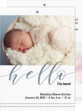 Peaceful Hello Birth Announcement Cards