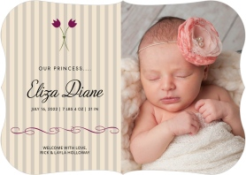 Charming Tulip Birth Announcement Cards