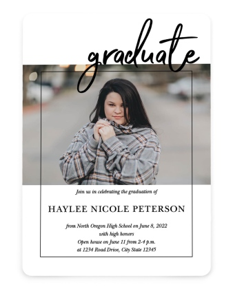 Scripted Accompllishment Graduation Announcement Cards