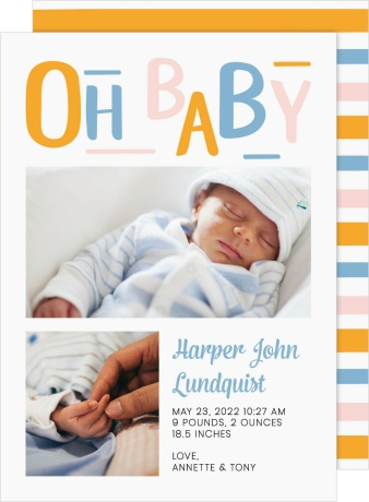 Baby Baby Birth Announcement Cards