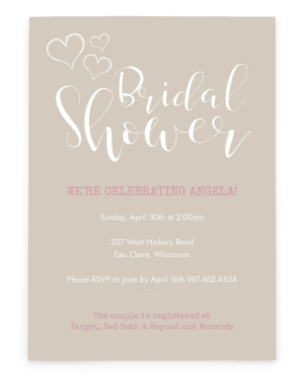 Heartfelt Wishes Bridal Shower Invitations