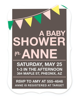 Breezy Bunting Baby Shower Invitations