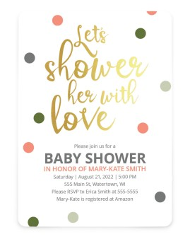 Showered Dots Baby Shower Invitations