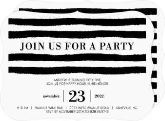 Party Stripes Birthday Party Invitations
