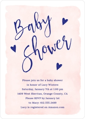 Doodle Hearts Baby Shower Invitations