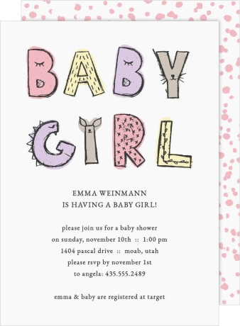 Baby Girl Soiree Baby Shower Invitations