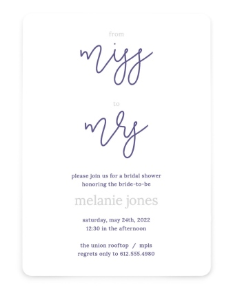 Honor the Miss Bridal Shower Invitations