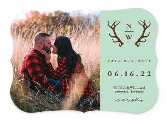Rustic Antler Save the Date Cards