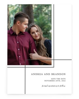Joined Lines Save the Date Cards