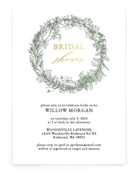 Budding Wreath Bridal Shower Invitations
