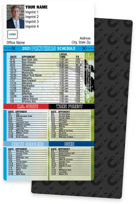 Panthers + NC State + Wake Forest + University of NC + Duke Football Schedule Magnets
