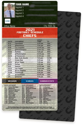 Chiefs + Univ of Missouri + Univ of Kansas + Kansas State Football Schedule Magnets