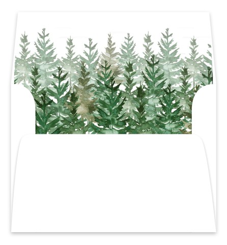 Ethereal Evergreens Wedding Invitation Envelope Liners