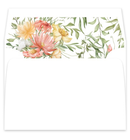 Secluded Blooms Wedding Invitation Envelope Liners