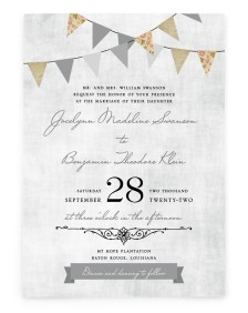Vintage Bunting Rectangle Invitations