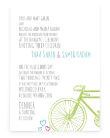 Bicycle Built for Two Rectangle Invitations