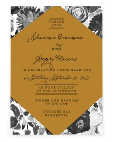 Geo Floral Rectangle Invitations