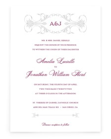 Stately Vow Rectangle Invitations